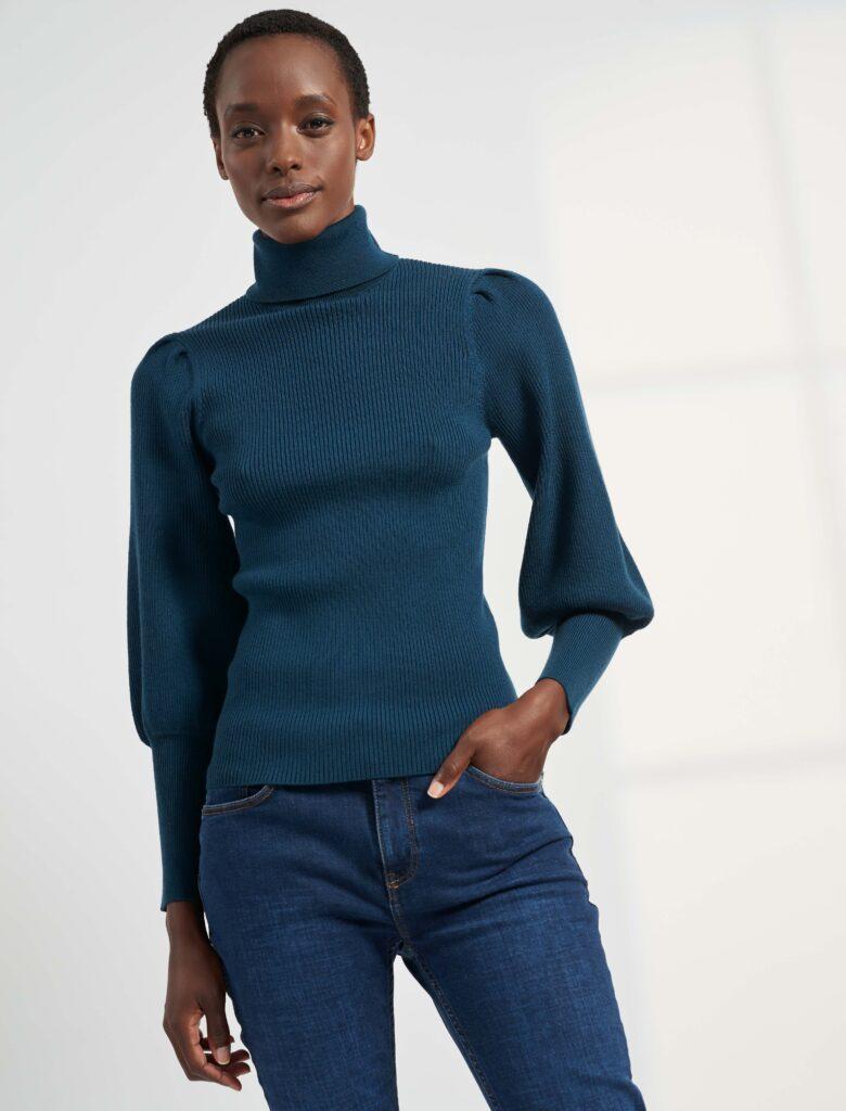 Eva Blouson Sleeve Jumper, Petrol Blue 2